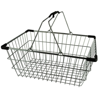 Chrome Plated Wire Shopping Basket - BSK-031M-BLK.JPG