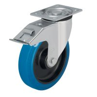 Medium Duty Steel Castor (Swivel Plate+Brake, Blue Tyre) - L-POEV125K-FI-SB.jpg