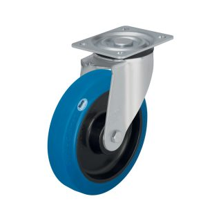 Medium Duty Steel Castor (Swivel Plate, Blue Tyre) - L-POEV125K-SB.jpg