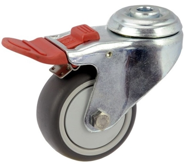 ZINC PLATED BOLT HOLE MOUNT CASTER TPE WHEEL TOTAL BRAKE  - MZHT07532-TPB.jpg